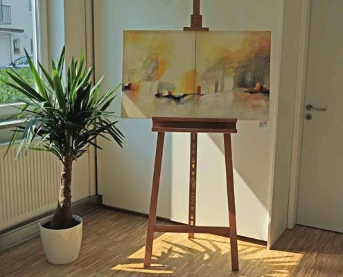 christinart Vernissage Acrylmalerei Stadt am Fluss