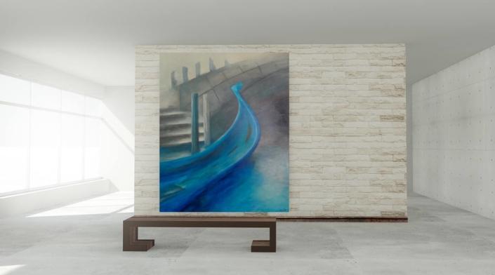 christinART Ulm _Acrylbild Venedig-Impression Gondel