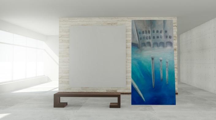christinART Ulm _Acrylbild Venedig-Impression Wasserstadt